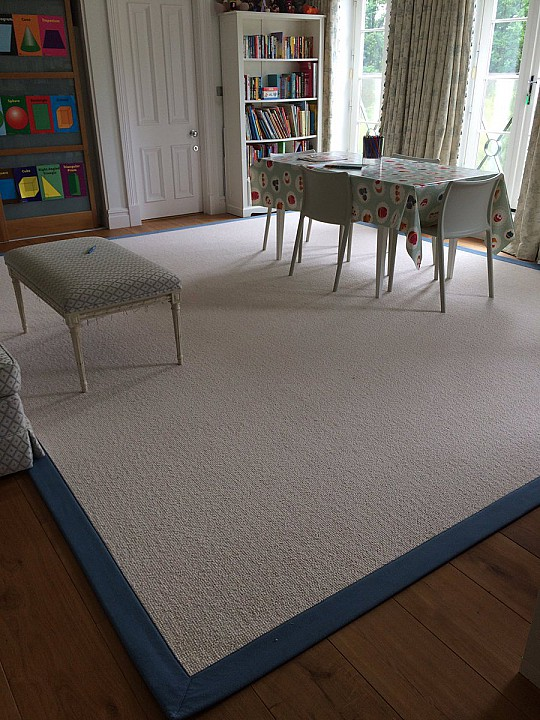 Alternative Flooring Wool Croft Rug Blue Cotton Border