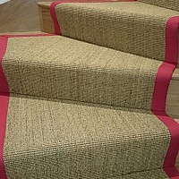 Alternative Flooring Small Boucle Stair Runner. Red Cotton Tape Border