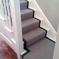 Telenzo Chelsea Cement stair runner with cotton tape border